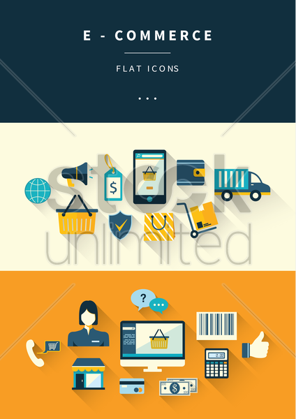 set of e-commerce icons vector graphic