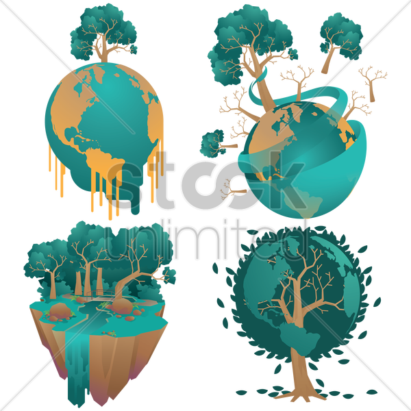 set of earth globe and trees concept vector graphic