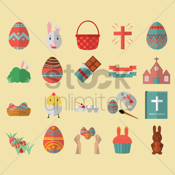 set of easter icons vector graphic