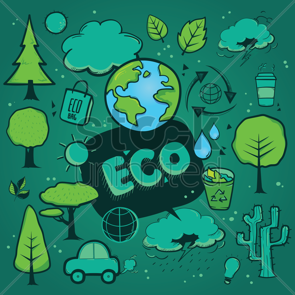 Free set of eco icons vector graphic