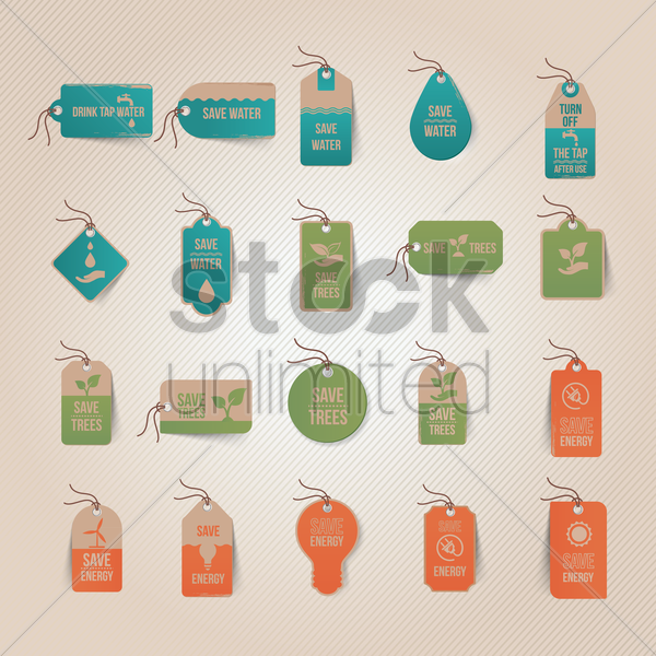 Free set of eco tags vector graphic