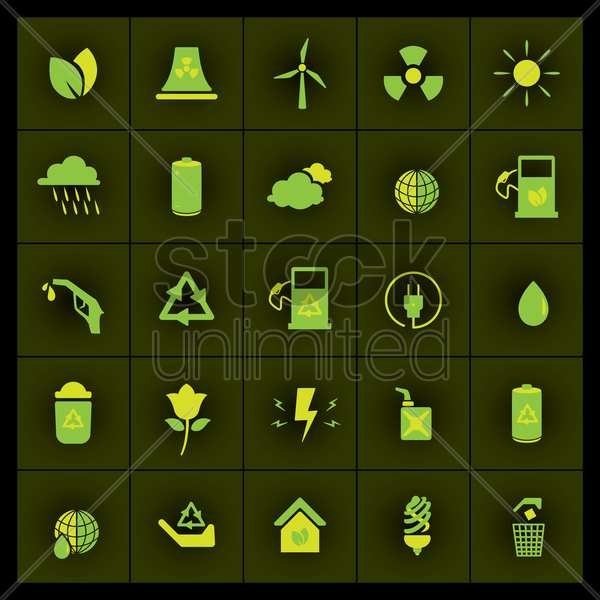 set of ecological icons vector graphic