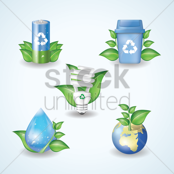 set of ecology icons vector graphic