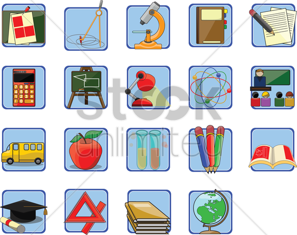 set of education related objects vector graphic
