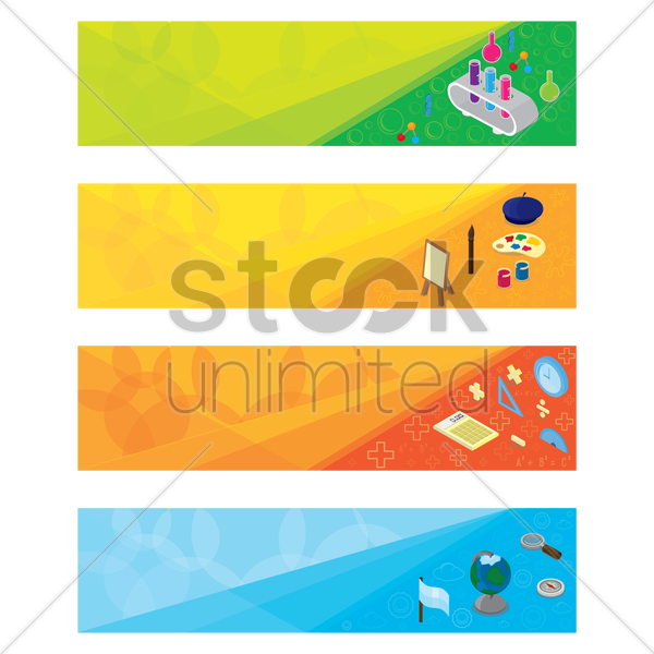 set of educational banner vector graphic