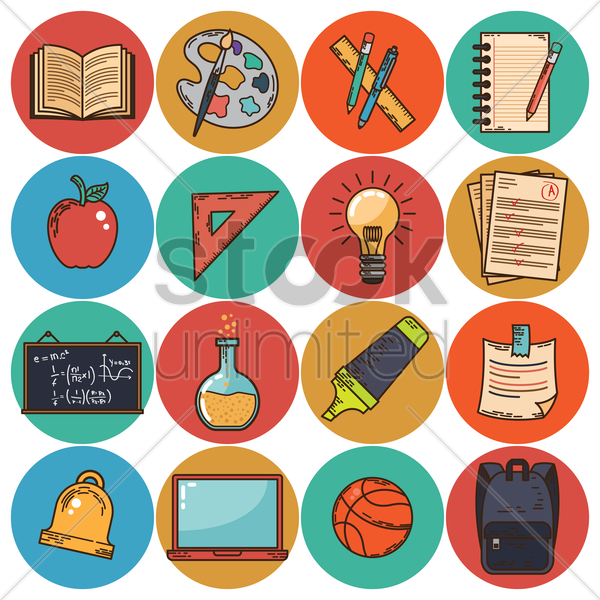 set of educational icons vector graphic