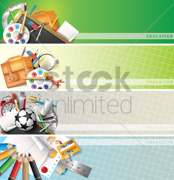 set of educational supplies on banners vector graphic