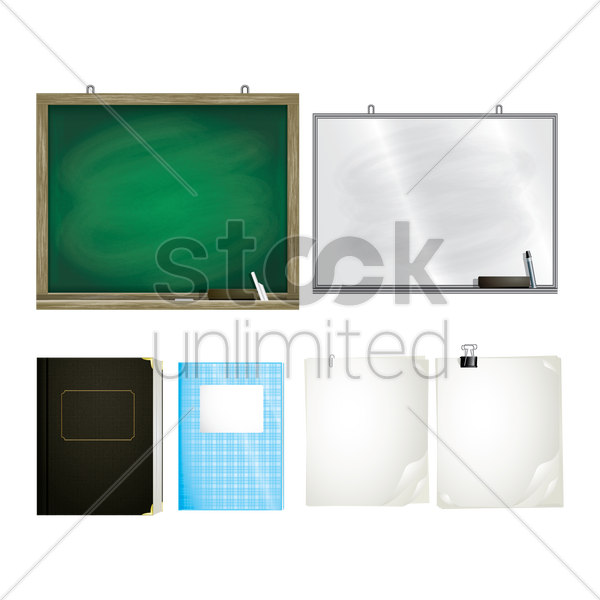 set of educational supplies vector graphic