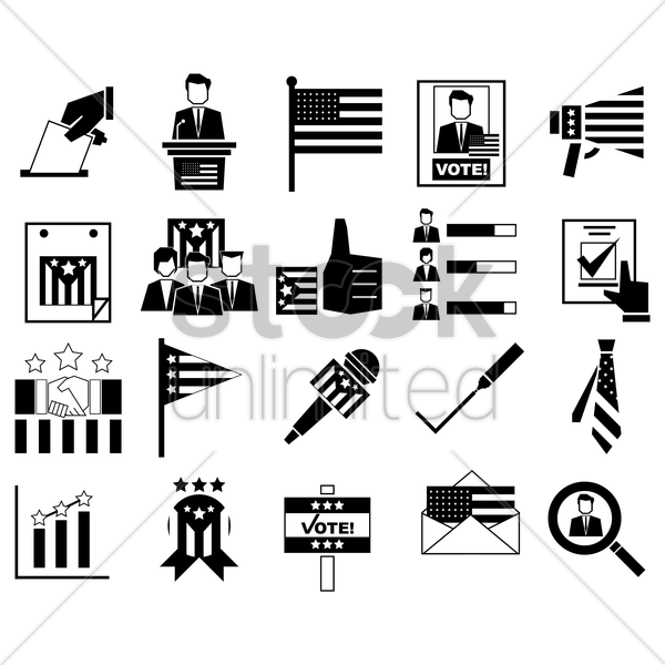 set of election icons vector graphic