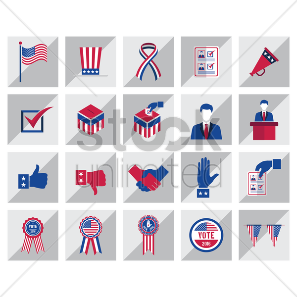 set of elections icons vector graphic