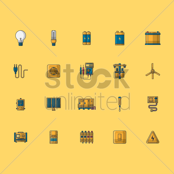 Free set of electric icons vector graphic