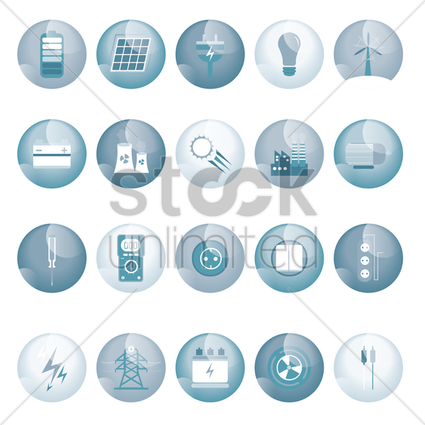 set of electric icons vector graphic