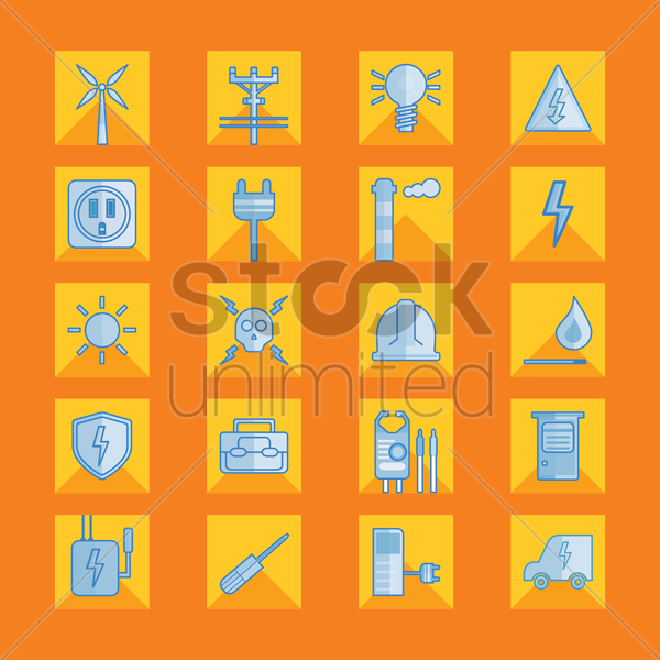 set of electrical icons vector graphic