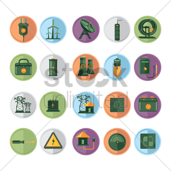 set of electricity related items vector graphic