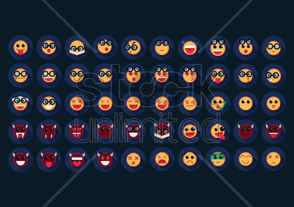 set of emoticons vector graphic