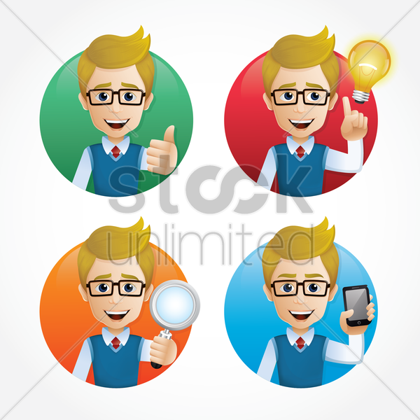 set of employee icons vector graphic