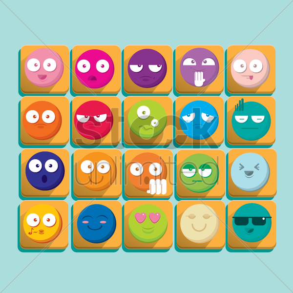 set of expressions vector graphic