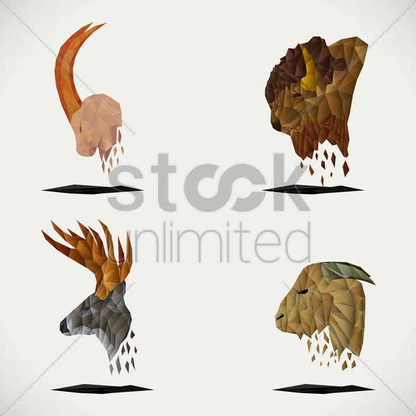 set of faceted animals vector graphic