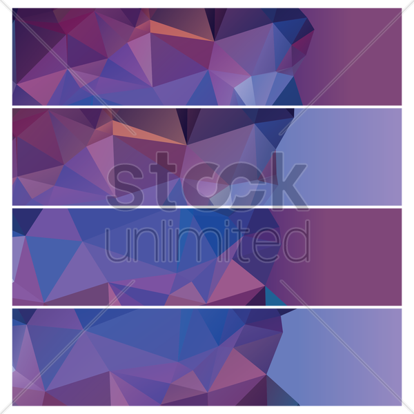set of faceted banners vector graphic