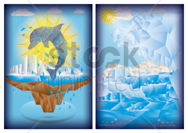 set of faceted poster vector graphic