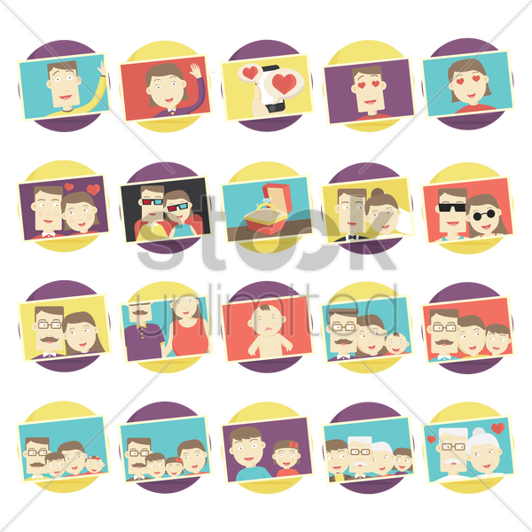 set of family photographs vector graphic