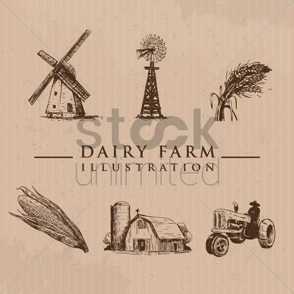 set of farm icons vector graphic