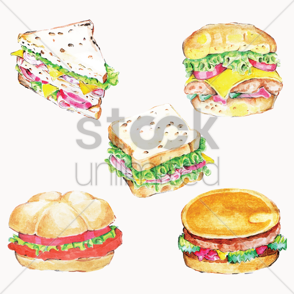 set of fast food vector graphic