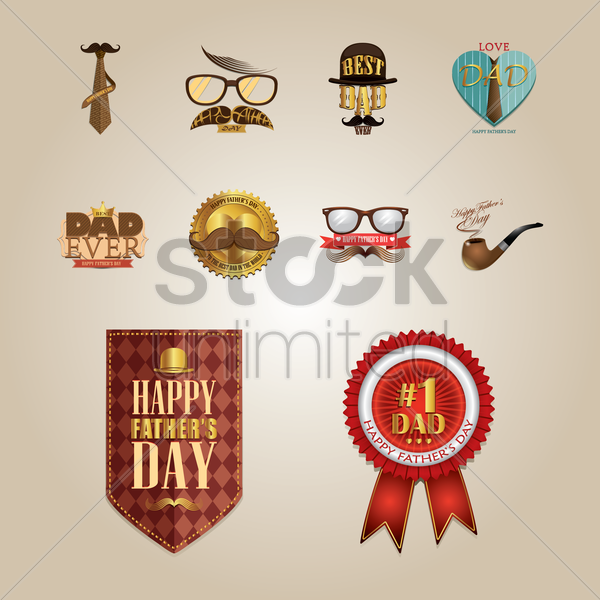 set of father's day icons vector graphic