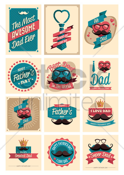 set of father's day labels vector graphic