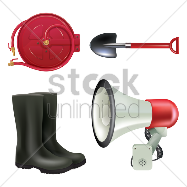 set of fire station icons vector graphic