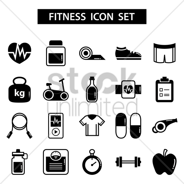 set of fitness icons vector graphic