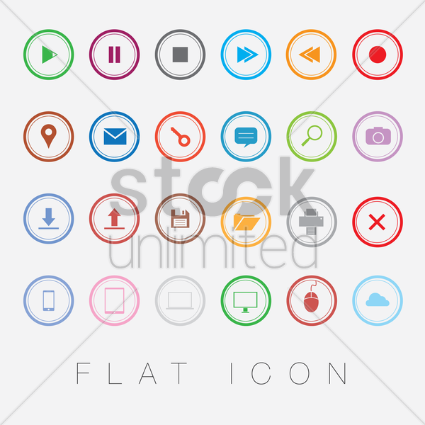 set of flat icons vector graphic