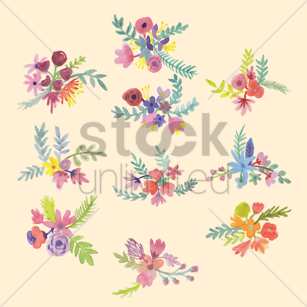 set of flower bunches vector graphic