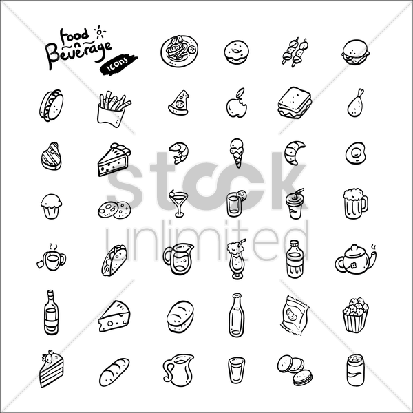 set of food and beverage icons vector graphic
