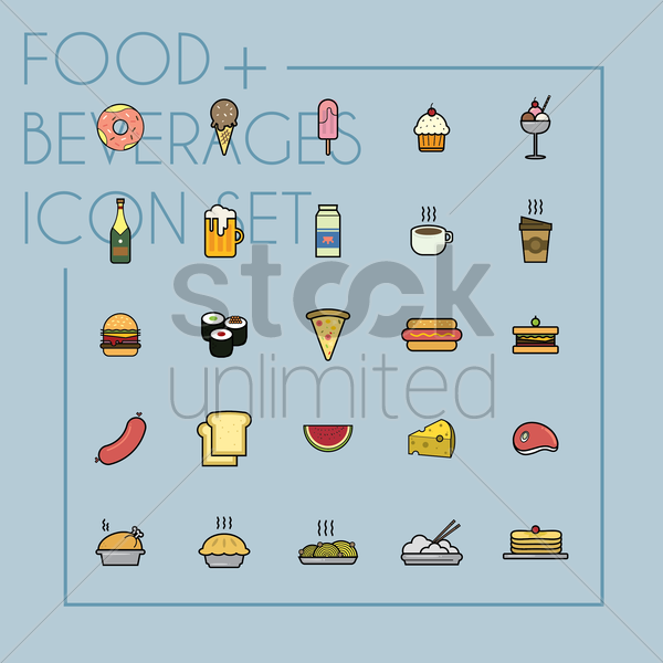 set of food and beverages icons vector graphic