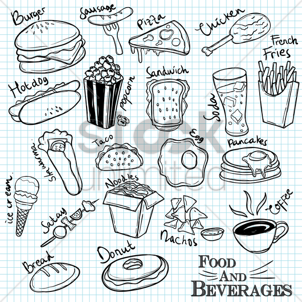 set of food and beverages vector graphic