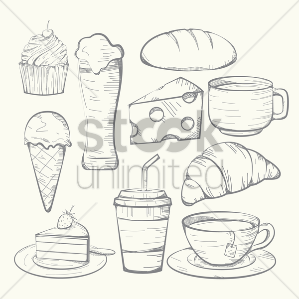 set of food and drinks vector graphic
