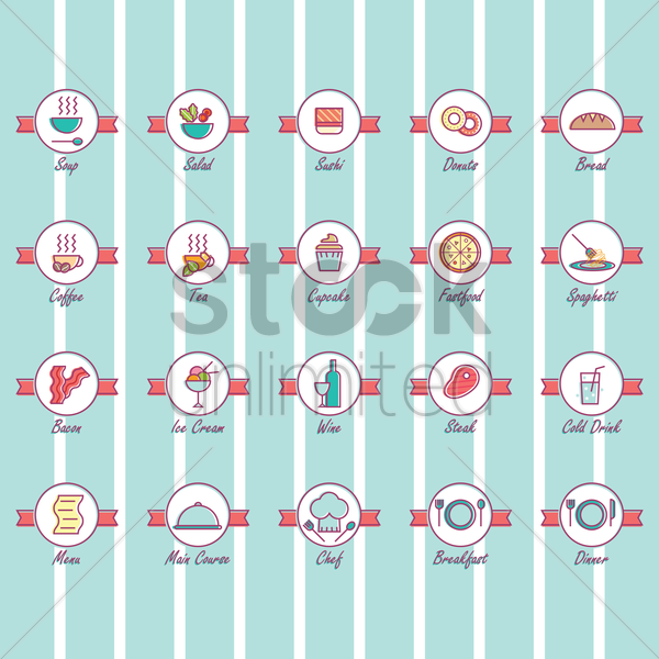 set of food icon vector graphic