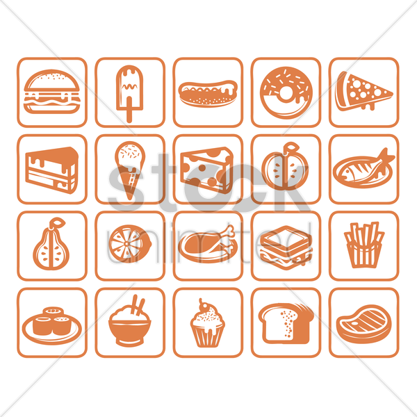 set of food icons vector graphic