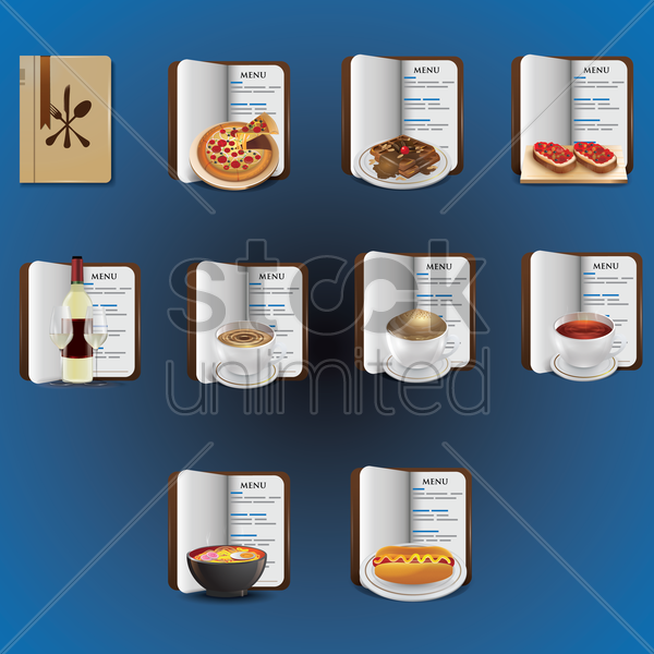 set of food items and menu book vector graphic