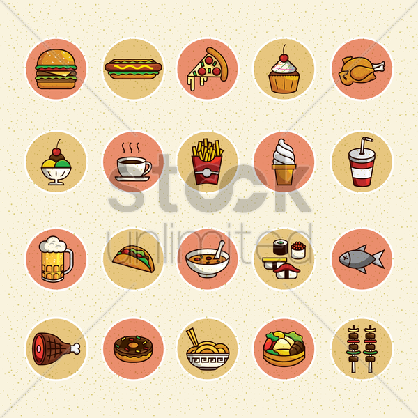 Free set of food items vector graphic
