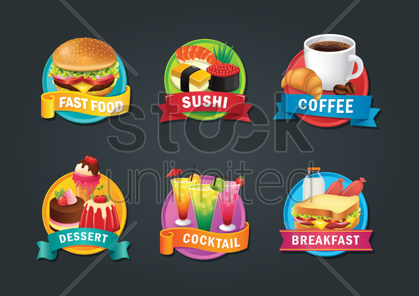 set of food items vector graphic