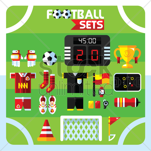 set of football icons vector graphic