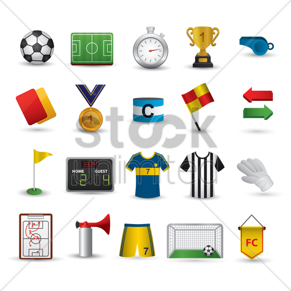 set of football items vector graphic