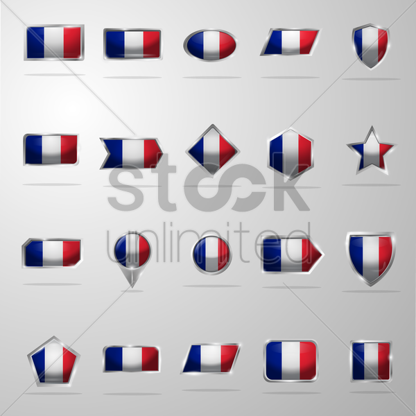 set of france flag buttons vector graphic