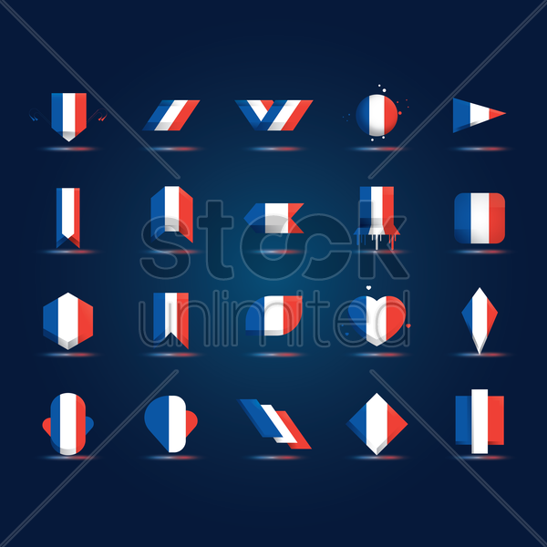 set of france flag icons vector graphic