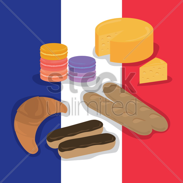 set of france food items vector graphic