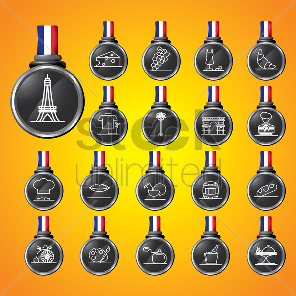 set of france icons vector graphic