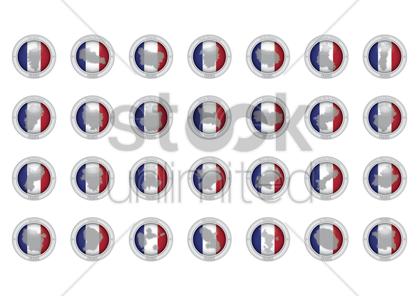 set of france province icons vector graphic