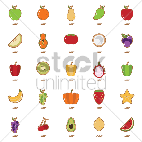 set of fruit and vegetable icons vector graphic